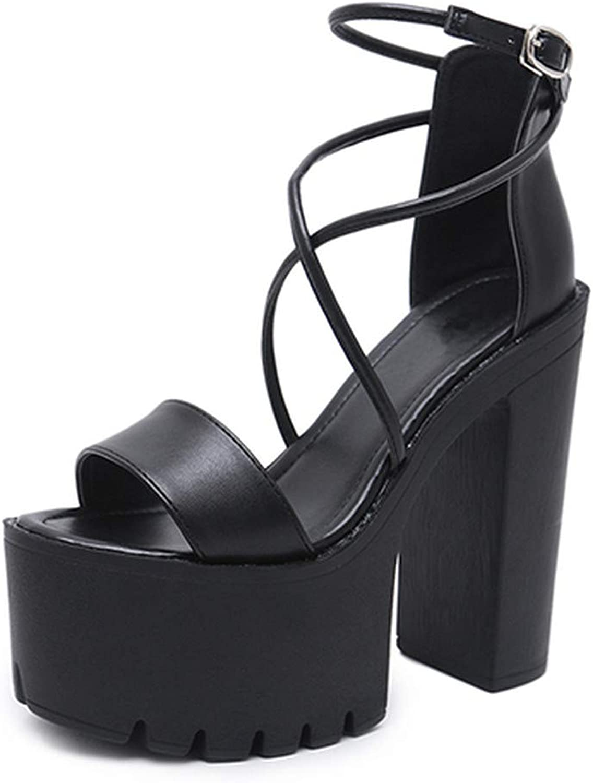 GAO-GEN1 Platform shoes for Summer High Heels Sandals Open Toe Buckle Block Heels Punk Black Leather