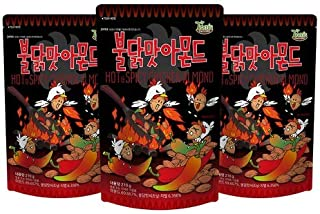 Gilim Tom's Farm Korean Seasoned Almonds Buldak(Hot&Spicy Chicken) Flavor (210g) x 3 Pack …