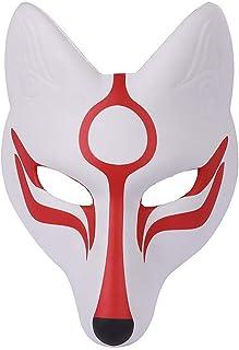 AMOSFUN Fox Mask Japanese Kabuki Kitsune Masks for Men Women Children Halloween Masquerade Costume Prop, White+red, Medium