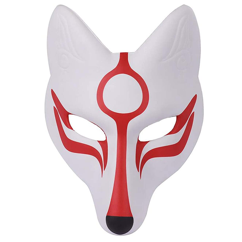 浮浪者一瞬飢えたAMOSFUN フォックスマスク日本歌舞伎きつねマスク用男性女性子供ハロウィーン仮装衣装プロップ