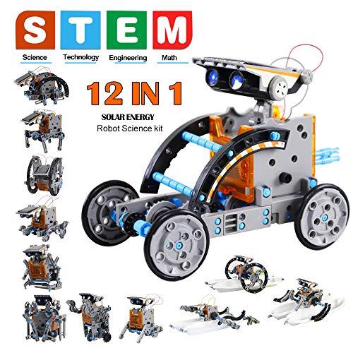 Innoo Tech 12 in 1 Solar Roboter Bausatz Set Kinder, STEM Spielzeug Konstruktion Bauset, Solar Angetrieben STEM Spielzeugen Robot Wissenschaft Kits für Kinder über 8 Jahren