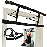 KOMSURF Pull Up Bar for Doorway, Portable Chin Up Bar Wall Mounted, Body Workout Exercise Bar for Home with 2 Professional Quality Suspension Straps