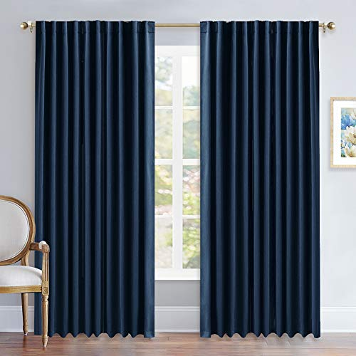 NICETOWN Vertical Blinds Window Curtain Panels - (Navy Blue Color) 70 by 95 inches, Set of 2 Panels, Energy Saving Blackout Curtains for Hall Room