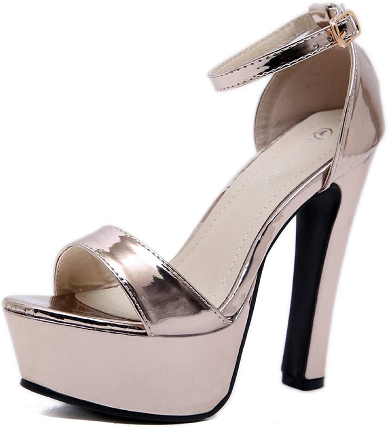 T-JULY Women Sandals Super High Heels Thick Heel Platform shoes Woman Party shoes Female Pumps with Ankle Strap