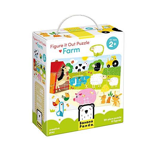 Banana Panda - Figure It Out Puzzle - Farm - Anfängerpuzzle mit Tierfiguren - für Kinder ab 2 Jahren