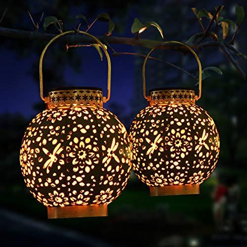 Idefair Luz solar para jardín, linterna solar para decoración de exteriores, lámpara colgante, IP65, impermeable, retro, luces blancas cálidas para jardín, paquete de 2
