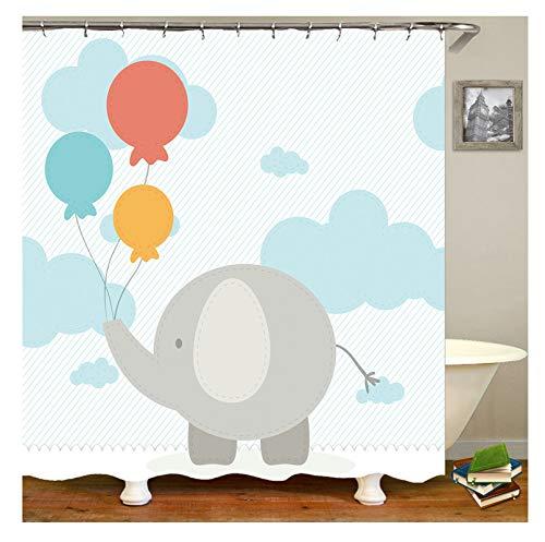 Amody Bad Vorhang 3D Elefantenballon Duschvorhang Antischimmel Waschbar 165x180CM Duschvorhang Abwaschbar