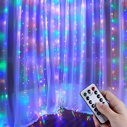 Anpro Catena Luminosa Stringa Luci - USB 320 LED Stringa di luce multicolore, Modalità 8 di lampeggiamento remoto,Festa di nozze Giardino di casa Camera da letto Decorazione di pareti interne esterne