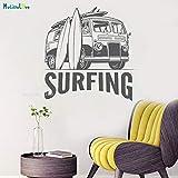 ASFGA Coche único Equipado con Pegatinas de Pared de Tablas de Surf autobus Emocional decoración del hogar Surf Pegatinas de Autos Deportivos Arte calcomanía extraíble Vinilo 71x70cm
