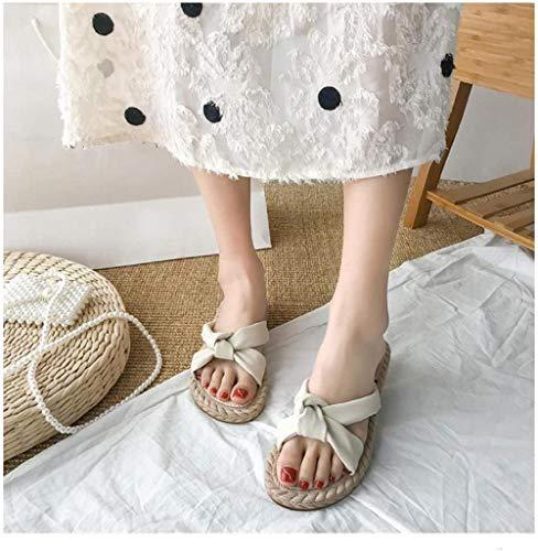 LLGG Sandalias de Piso Casuales Antideslizantes,Sandalias de baño de ingeniería Humana, Sandalias de Moda-Beige_38,Zapatillas de Estilo para el hogar