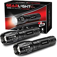 GearLight LED Tactical Flashlight S1000 [2 Pack] - High Lumen, Zoomable, 5 Modes, Water Resistant Light - Camping...