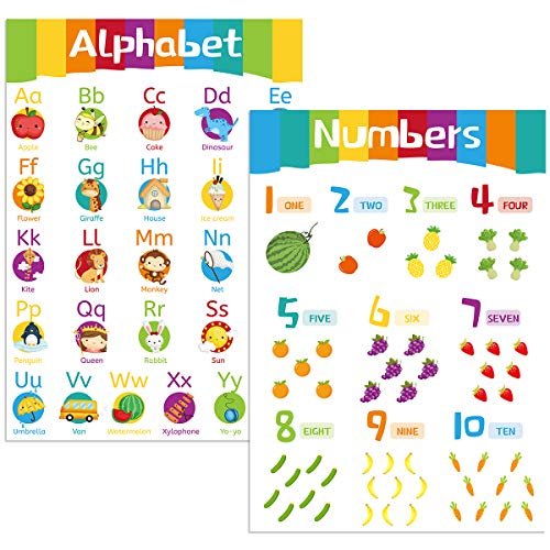 """Jumbo Size Alphabet Poster Number 1-10 Poster Laminated Posters for Toddles Kids Wall Pre-K Kindergarten Classroom Decoration Homeschool Supplies 2Pcs 18"""" X 24"""""""