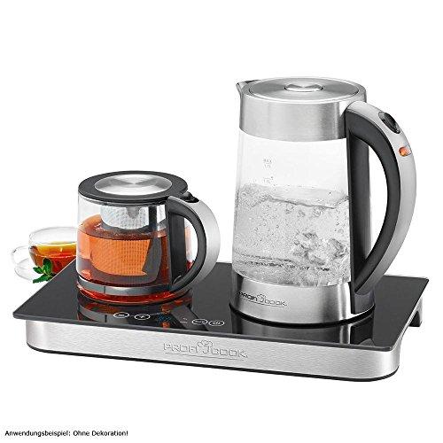 ProfiCook PC-TKS 1056, 3in1 Glas-Wasserkocher, Tee- & Kaffeestation in Einem, Edelstahlgehäuse, Sensor-Touch-Bedienfeld, automatische und manuelle Temperatureinstellung, edelstahl/schwarz