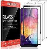 MASCHERI 3 Stück Panzerglas kompatibel mit Samsung Galaxy A50 M30s Schutzfolie Ausgestattet mit einem Einbaurahmen 9H Festigkeit Blasenfrei