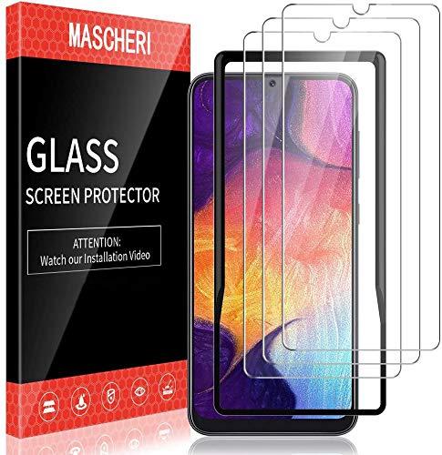 MASCHERI 3 Stück Panzerglas kompatibel mit Samsung Galaxy A50 M30s Schutzfolie Ausgestattet mit einem Einbaurahmen 9H Härte Blasenfrei