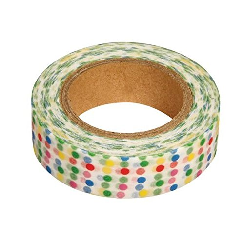 Ray - Washi tape blanc à pois multicolores