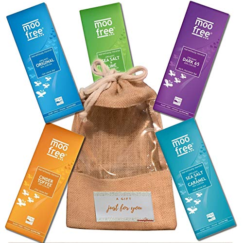 Ultimate Vegan Chocolate Gift Box Pack; 5 Dairy Free Chocolate Snacks -Gluten Free Dark Chocolate, Milk Chocolate bar - Perfect Birthday Gifts - *Includes Eco-Friendly Jute Bag and Card