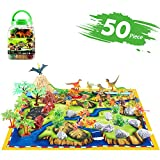 AOKESI 50 Piece Dinosaur Toys Educational Dinosaur Playset 20 Realistic Dinosaurs + 29 Trees & Rocks + PlayMat for Kids, Boys & Girls
