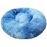 Cama original para gatos y perros de lujo de piel de donut Donut Donut, cama de gato de malvavisco, mullida, cómoda y linda piel sintética para interior, zafiro, 80 cm