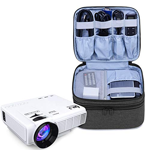 Luxja Beamertasche für Mini Beamer, Projektor Tasche Kompatibel mit APEMAN, QKK, DR.Q und Andere Mini- Beamer und Zubehör, 23 cm x 19 cm x 10 cm, Schwarz
