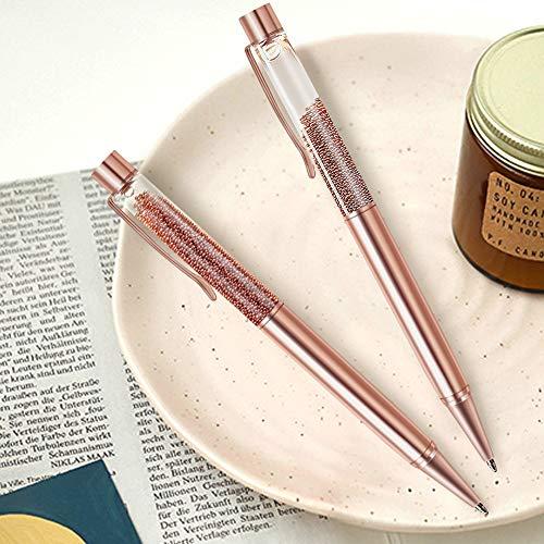 ZZTX 3 Pcs Rose Gold Ballpoint Pens Metal Pen Bling Rose Gold Dynamic Liquid Caviar Pen With Refills Black Ink Office Supplies Gift Pens For Christmas Wedding Birthday Photo #7