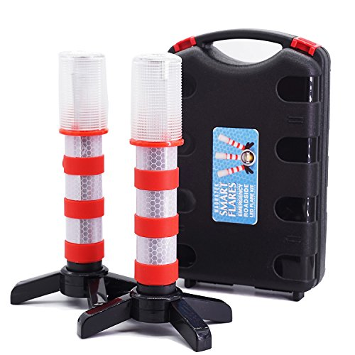 2 LED Emergency Road Flares Red Roadside Beacon Safety Strobe Light Warning Signal Alert Magnetic Base and Upright Stand in Solid Storage case
