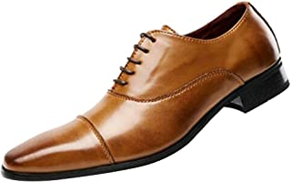 GYUANLAI Men's Leather Shoes Leisure Business Full Dress Classic Comfortable Dress Shoes for with Lace Up