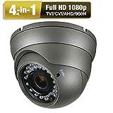 1080P Dome Camera, 4 in 1 TVI/AHD/CVI/CVBS CCTV Analog Camera, 2.8-12mm Motorized Security Camera, 3 pcs Array IR LEDs 100ft Night Vision IP66 (Grey)