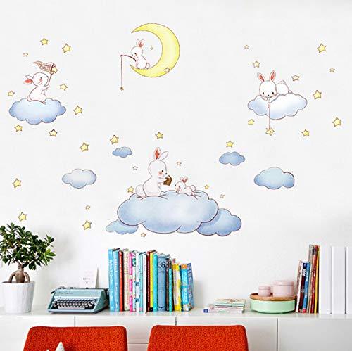 Schöne Kaninchen Cloud Home Wallpaper Luftballon Kinderzimmer Kindergarten Puppenhaus Dekorative Paste TV Sofa Hintergrund Decals