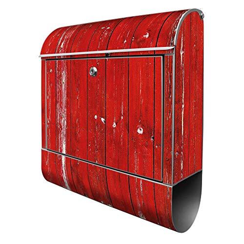 Banjado Design Briefkasten mit Motiv Rote Holzlatten | Stahl pulverbeschichtet mit Zeitungsrolle | Größe 39x47x14cm, 2 Schlüssel, A4 Einwurf, inkl. Montagematerial