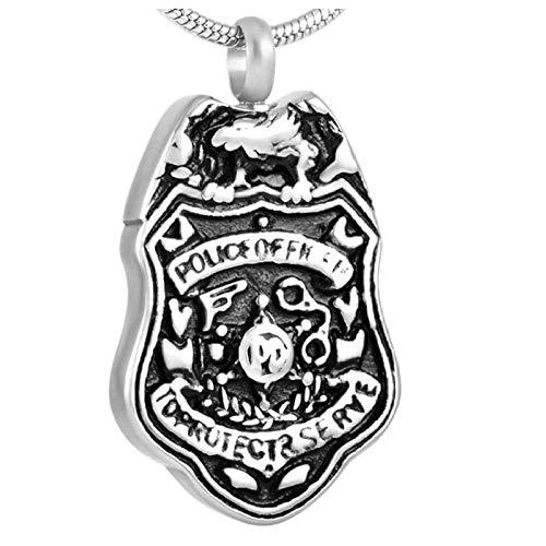 Ysain Collar Urna para Cenizas Urna De Cremación De La Policía Shiled, Joyería, Collar De Urna De Recuerdo De Héroe Vintage, Colgante De Restos Conmemorativos para Cenizas
