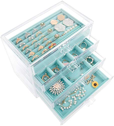 Mebbay Acrylic Jewelry Box with 4 Drawers, Velvet Jewelry Organizer for Earring Necklace Ring & Bracelet, Clear Jewelry Display Storage Case for Woman, Blue
