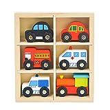 YUIP Juguetes de Madera Vehículos, 6 Piezas Juguete Educativo, Coches Privados, Taxis, Camiones de Bomberos, Ambulancias, Trenes Pequeños, Coches de Policía, para niños de 3 a 12 Años Niñas Niños