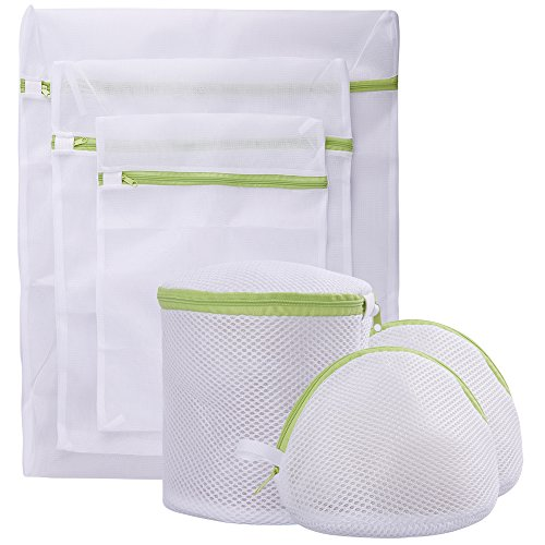 Pagetoc Mesh Laundry Bag Set of 6 White Delicate Durable Polyester Wash Bags with Zipper for Laundry Blouse Hosiery Stocking Underwear Bra and Lingerie