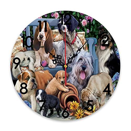 ZORMIEY Reloj de Pared Redondo con Cabeza a Pilas, Dibujo en Blanco...
