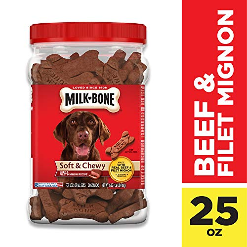 Milk-Bone Soft & Chewy Dog Treats, Beef & Filet Mignon Recipe, 25 Ounces