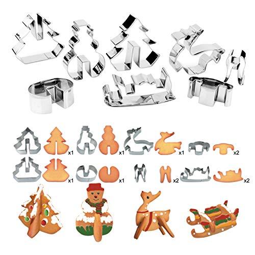 Jolisson 8 Stück Plätzchen Keksausstechformen 3D Weihnachten Ausstechformen Edelstahl Fondant Ausstecher Set DIY für Kekse Backen Zubehör