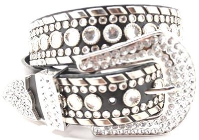 Deal Fashionista Women's Western Rhinestone Chrome Studded Rodeo Cowgirl Belt L Black