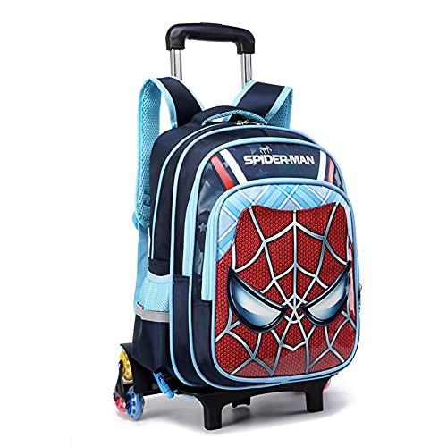 MYYLY Enfants Spiderman Bagages 6 Roues Trolley Sac À Dos Hidden Pull Bar Cartable Garçons Main Tige en Plein Air Pique-Nique 2-en-1 Roulant Super-Héros,Blue-6 Wheel(Small~40X30X19CM)