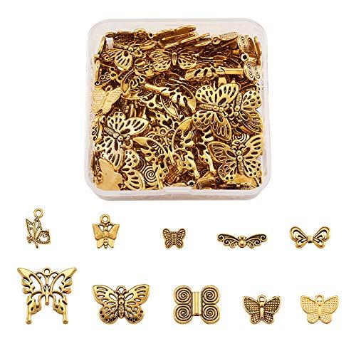 Beadthoven - 150 abalorios de mariposa de aleación tibetana con forma de mariposa dorada envejecida para hacer pulseras y collares, pendientes, joyas