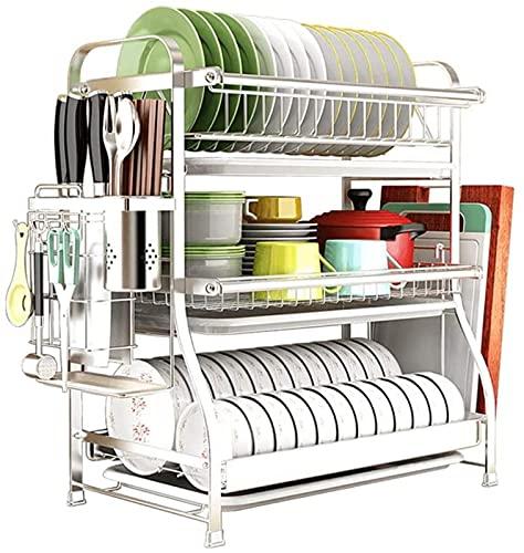 Escurridor de platos grande de 3 niveles con bandeja de goteo de plástico Rejilla para platos de acero inoxidable 304 para tabla de cortar, palillos, cuchillos de cocina, vajilla y más (tamaño: 44 × 3