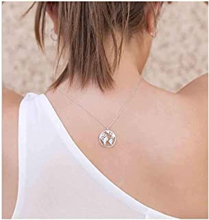 World Map Necklace Jewelry Simple Globe Choker Necklaces for Women and Girls Circle Choker