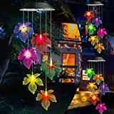 Toodour Solar Wind Chimes, Color Changing Solar Maple Leaf Wind Chimes, LED Mobile Wind Chimes, Waterproof Outdoor Wind Chime Lights for Garden, Patio, Party, Window, Thanksgiving, Halloween