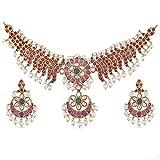 Tarinika Yami Gold-Plated Indian Choker necklace Set - White Red Green