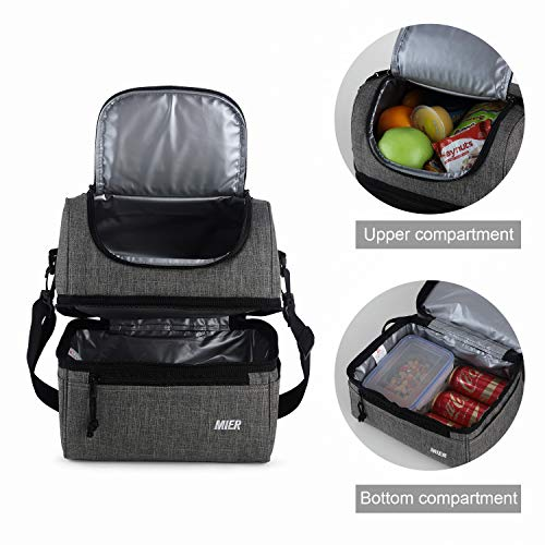 MIER Adult Lunch Box Insulated Lunch Bag Large Cooler Tote Bag for Men, Women, Double Deck Cooler (Grey, Large)
