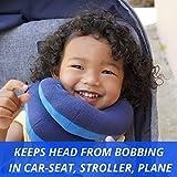 BCOZZY Kinder Nacken und Kinn stützendes Reisekissen – unterstützt den Kopf, Hals und das Kinn. Ein Patentiertes Produkt. Kindergröße, MARINEBLAU - 3