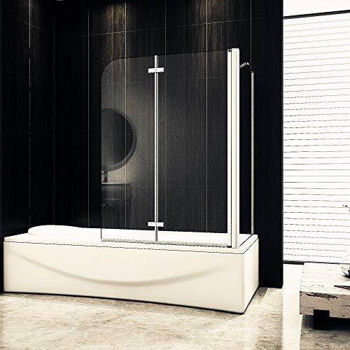 Aica Sanitär Badewannenaufsatz Duschabtrennung Eck 100x75x140cm 2-teilig Faltbar Duschwand mit Seitenwand für Badewanne