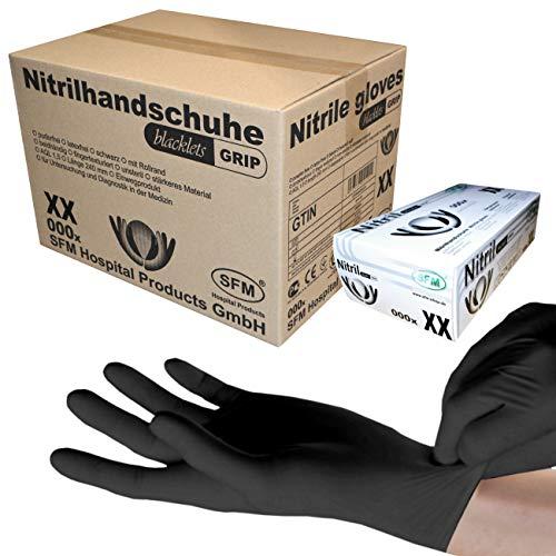 SFM ® BLACKLETS GRIP Nitril : XS, S, M, L, XL schwarz puderfrei F-tex Einweghandschuhe Einmalhandschuhe Untersuchungshandschuhe Nitrilhandschuhe XS (1000)