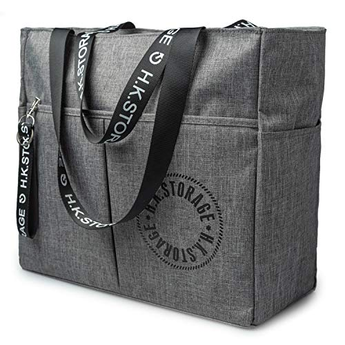 RoLekim Travel Tote Bag Gym Bags for Men Women Carry on Duffels Bag for School Working Shopping Waterproof Weekender Large Capacity Grey