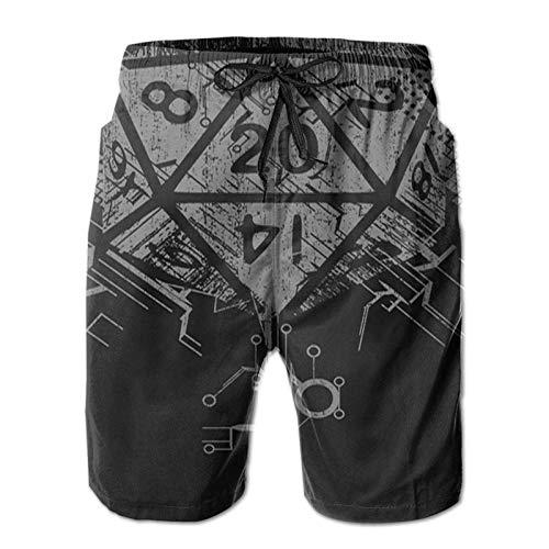 MayBlosom Men's Comfort Beach Shorts Breathable Swim Trunks Fit Drawstring Shorts Fantasy D20 Dice Black 2XL